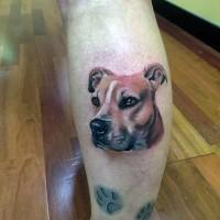 Tatuaje  de retrato de perro hermoso realista
