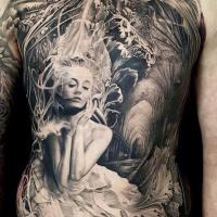 Great pretty woman full chest tattoo