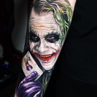 Great realistic Joker tattoo on sleeve