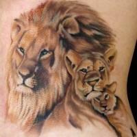 Tatuaggio realistico sul fianco la famiglia dei leoni