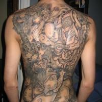 Great samurai and demon tattoo on back
