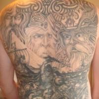 Great scandinavian gods and battle of vikings tattoo on whole back