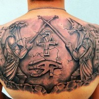 Great tattoo in egyptian style on back