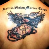 Great usms  military tattoo on back