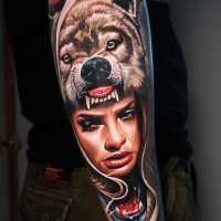 Great WolfGirl tattoo on arm