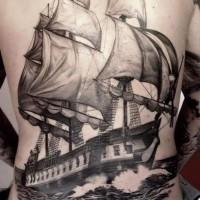 Great wonderful ship tattoo on whole back