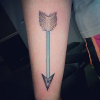 Green arrow tattoo with feather on forearm