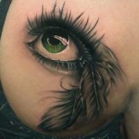 Tatuaggio realistico l'occhio verde