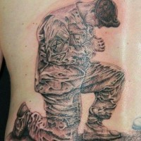 Grieving soldiers military memorial tattoo on ribs