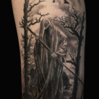 Grim reaper in shroud tattoo on shoulder by howl