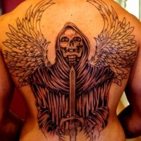 Grim reaper with wings and sword tattoo on back