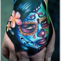 Grim santa muerte girl tattoo on hand