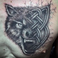 Half Celtic style black ink wolf tattoo on chest