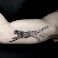 Half geometric half realistic biceps tattoo of creative leopard