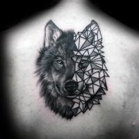 Half realistic half geometrical style back tattoo of wolf head