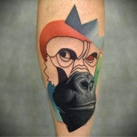 Half realistic half illustrative style colored forearm tattoo fo gorilla