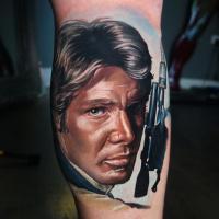 Han Solo from Star Wars tattoo on leg
