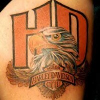 Harley davidson logo with eagle tattoo