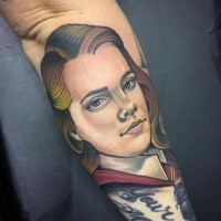 Harry Potter movie themed colored forearm tattoo of Hermione Granger portrait