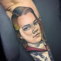 Harry Potter Film farbigen Unterarm Tattoo mit Porträt der Hermine Granger