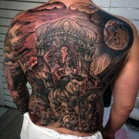 Hinduism style colored large horse carriage tattoo on whole back stylized with night sky