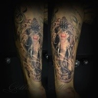 Hinduism themed colored arm tattoo of big saint elephant