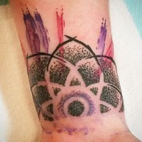 Homemade abstract style watercolor wrist tattoo of ornamental flower