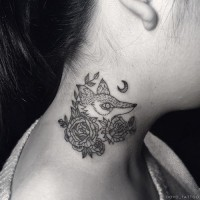 Homemade black ink fox tattoo on neck combined with moon and flowers