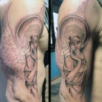 Homemade like beautiful looking black and white nice angel tattoo on shoulder