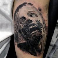 Homemade like black and white creepy zombie tattoo on forearm
