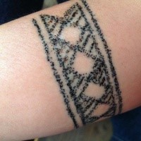 Homemade like dotwork style tattoo of simple ornament