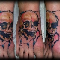 Homemade like little colored corrupted skull tattoo on foot