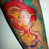 Homemade like watercolor painted cartoon Ariel mermaid tattoo