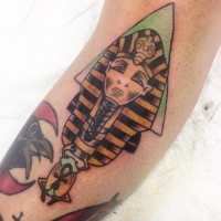 Homemade multicolored ancient Egypt themed pharaoh statue tattoo with Ankh