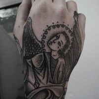 Homemade style black ink hand tattoo of angel picture