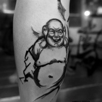 Homemade style black ink leg tattoo of funny Buddha statue