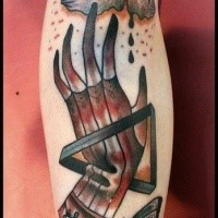 Homemade style colored arm tattoo of mystical hand with cloud and symbols