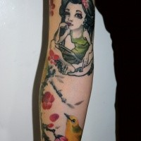 Homemade style colored arm tattoo of little girl with flowers and little bird