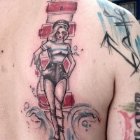 Homemade style colored back tattoo of lighthouse with sexy sailor woman