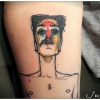 Homemade style colored leg tattoo of funny man