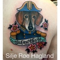 Homemade style colored scapular tattoo of military dog with lettering and flowers