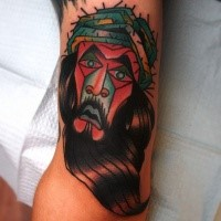 Homemade style colored tattoo of Jesus portrait