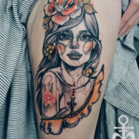 Homemade style colored thigh tattoo of cute woman with big rose and cross