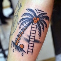 Homemade style painted colored palm tree with coconuts tattoo on leg