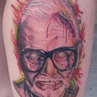 Horror movie like colored creepy grandpa tattoo on arm