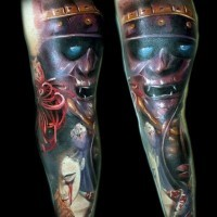 Horror movie like colored demonic samurai warrior tattoo combined with bloody woman portrait