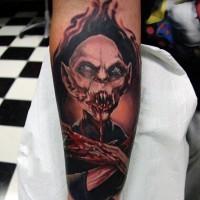 Horror movie like cool bloody vampire tattoo on arm