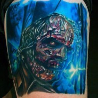 Horror movie like multicolored zombie in dark forest tattoo