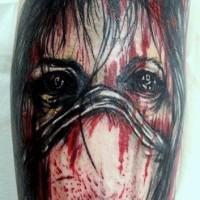 Horror movie like simple designed bloody nurse tattoo on arm