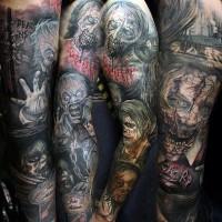 Tatuaje en el brazo completo, varios héroes horrorosos de películas de terror